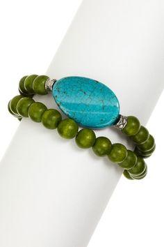 Green Apple Turquoise Bracelet Set