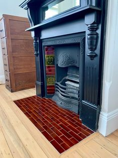 The Olde English range of fireplace hearth tiles combines tessellated patterns, classic vitrified mosaics and vividly coloured plain gloss tiles to create a beautiful heritage look. Fireplace Hearth Tiles, Mosaic, English, Pattern, Ideas, Home, Ad Home, English Language, Homes