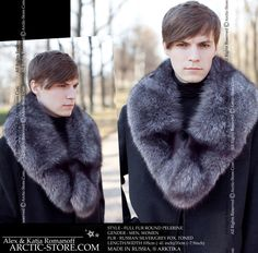 Super soft round pelerine men's collar is made of silver grey fox with deep Siberian toning. This fur collar is specially designed to cover the chest and shoulders completely including the back. You will make a bold fashion statement wearing this collar over any coat or jacket. 100% made in Russia.