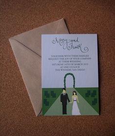 Tarjeta con ilustración. Invitaciones de bodas de Angie Fernández.