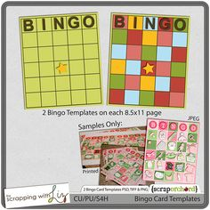 Bingo Card Templates by Scrapping with Liz