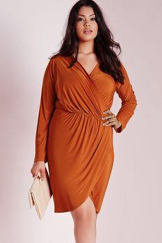 Flattering Big'n'Trendy Rust Plus Size Slinky Wrap Dress