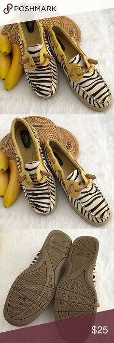 HPMaui Island Zebra Print Boat Shoes So adorable and perfect for summer outings! Beautiful zebra print pony hair with yellow embossed trim accented with leather ties. Sooo Cute!! Pre Worn in Very Good condition. See photos. No Trades. TB1133. Maui Island Shoes Flats & Loafers