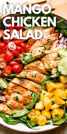 Mango Chicken Salads, Chicken Salad Recipes, Juicy Baked Chicken, Baked Chicken Breast, Healthy Family Meals, Healthy Recipes, Homemade Dressing, Honey Lemon, Dinner Salads
