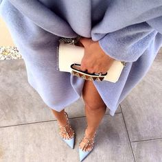 Lilac coat, lilac Valentino Rockstud pumps and white purse