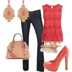Love the lace coral top with the dark blue jeans. Finish the outfit with coral-colored accessories and shoes.
