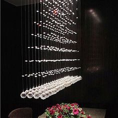 "L32"" X W8"" X H40""5 Lights Rain Drop LED Crystal Rectangle Chandelier/Flush Mount #Lumos #Modern"
