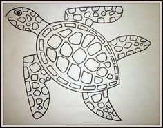 How to draw a sea turtle - step by step