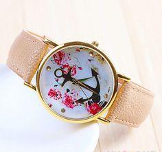 Women's New Trendy Faux Leather Floral Printed Anchor Quartz Dress Wrist Watch