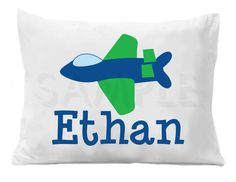 Airplane Personalized Pillow Case by TheTrendyButterfly on Etsy,
