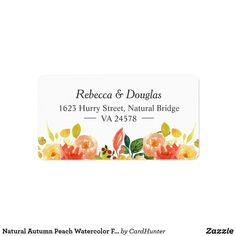 Shop Natural Autumn Peach Watercolor Floral Themed Label created by CardHunter. Personalize it with photos & text or purchase as is!
