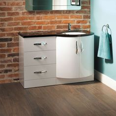 Kirkwood Bow Front Right Hand Drawer Combination - Black And White Bathroom Ideas - Black And White Vanity Unit - Better Bathrooms White Vanity Unit, Freestanding Vanity Unit, Basin Vanity Unit, Vanity Units, Fitted Bathroom Furniture, Furniture Vanity, Steam Shower Units, Amazing Bathrooms, Better Bathrooms