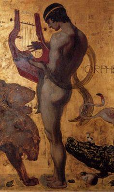 Franz Stuck (German 1863–1928), [Symbolism, Art Nouveau] Artemis Dreaming, Orpheus, 1891. Detail