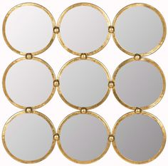 Circles in the Square Mirror in Antique Gold Forged Iron