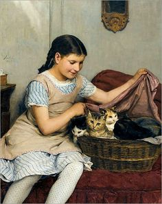 girl with kittens, ALBERT ANKER