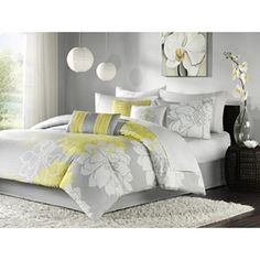 love the grey and yellow for the bedroom.