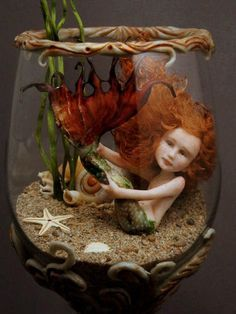 Mermaid in a glass goblet…  polymer clay… by fairystudiokallies