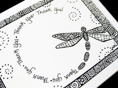 Items similar to Dragonfly Thank You card card - Blank inside - Black and white pen and ink art - very Unique - Beautiful spiral design on Etsy