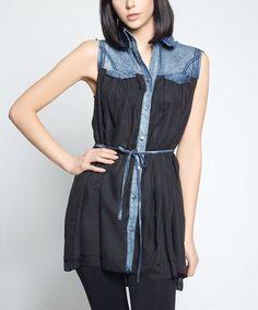 Look what I found on #zulily! Black & Denim-Panel Tie-Waist Tunic by So Nice Collection #zulilyfinds