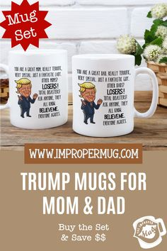 Mug Sets | Funny Mug Set for Couples – Cock Washer Vagina MuMom and Dad Trump Mug Set – Republican Mugs for Christmas, Gift for Couples. Save $$$ Buy the Set! This is a listing for two mugs. They are packaged and shipped separately allowing you to have two gifts or gift them together! Design printed on both the front and back sides of the mug. 100% Dishwasher and Microwave safe. Collect this awesome mug set. #MugSet #MugSetForCouple #CoupleMugs #Mugs #impropermug