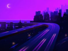 Night Lights designed by Daniel Tan. Connect with them on Dribbble; Iphone 6 Wallpaper Backgrounds, Purple Themes, Purple Walls, Purple Wallpaper, Anime Girl Cute, Purple Aesthetic, Fantasy Artwork, Night Skies, Picture Wall