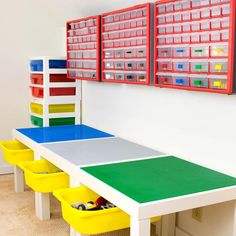 Need more Lego storage? This simple IKEA hack will add plenty of storage under the IKEA Lack table! Sort Lego pieces by color and shape with the overhead bins. What a great way to get some Lego organization in the kids playroom! Lego Play Table, Lego Table With Storage, Lego Storage, Kids Storage, Storage Ideas, Paint Storage, Drawer Storage, Drawer Unit, Craft Storage