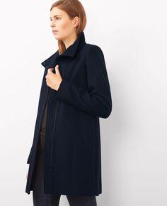 Manteau zippé en laine et coton