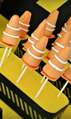 Orange cone cake pops at a Construction Birthday Party!  See more party ideas at CatchMyParty.com!