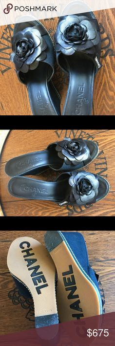 💯Authentic Chanel Sandals 🌹 Beautiful Chanel sandals.  Dark Navy.  Wore once.  No box or receipt. Brought it from Neiman Marcus. Please no Trade, text or email request.  Accept only serious Poshmark offer.  Final Sale 💝 Thank you😘 CHANEL Shoes Sandals
