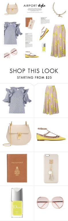 """AIRPORT STYLE"" by canvas-moods ❤ liked on Polyvore featuring MSGM, Chloé, Valentino, Mark Cross, Iphoria, Christian Dior, McGinn and Chanel"