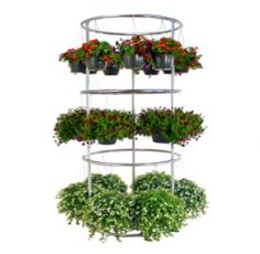 Retailers, whether using it for hanging container plants or wind chimes, the vertical basket tower by Poly-Tex can be a great way to display products or simply increase space in your garden center display areas.