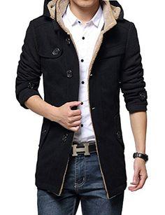 Brinny Hommes Trench long manteau Automne Hiver costume d'hiver coupe-vent veste de laine Slim Fit Blouson Noir XL