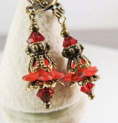 New w/Swarovski Red/Siam Crystal Lucite Flower Dangle Earrings Flower Earrings, Crystal Earrings, Crystal Beads, Dangle Earrings, Crystals, Vintage Flowers, Vintage Floral, Complimentary Free, Bead Caps