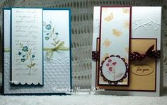 """Friday, March 16, 2012 Stamping with Klass: Magnetic Bookmarks (card on left) Charming,   Scallop Border Punch (card on right)  Clearly for You 1 3/4"""" Scallop Circle & 1 1/2"""" Circle punches"""