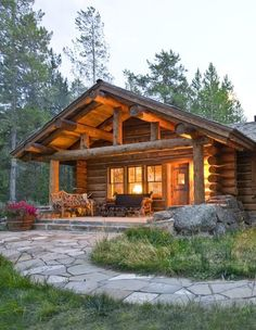 Log cabin in the woods..