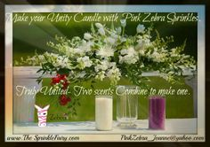 Pink Zebra offers great and unique Candle Bars as well as unity candles! Have the bride and groom pick from our 51 scents of Sprinkles and then they pour into the jar and light for Unity! Different and Beautiful!