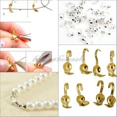 Lotti 100/300 pz Argento Placcato Oro del Metallo Crimp End Caps Beads Per Monili Che Fanno FAI DA TE