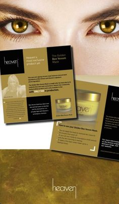 GOLDEN BEE VENOM MASK - This new anti-aeing miracle mask features concentrated ingredients of Bee Venom & Heaven's signature secret ingredient. Only 500 made in production. www.heavenskincareusa.com