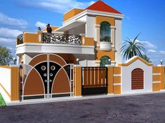 Hasil gambar untuk elevations of independent houses Brick House Designs, House Front Design, Small House Design, Modern House Design, Beautiful House Plans, Dream House Plans, Hut House, Independent House, Fantasy House