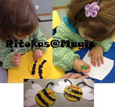 Placard da Primavera - Abelha Material: CD, feltro amarelo, colagem de couro preto, Picotagem de cartolina (asas)