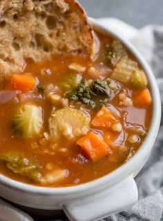 This delicious and nourishing Red Lentil Tomato Soup with Kale and Brussel Sprouts is vegan, naturally gluten-free, high in protein and fibre and virtually fat-free.