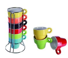 Coffee Tea Mugs Set With Latte Stand 6Ps Ceramic Kitchen Colorful Service Gift