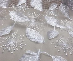 Feather Embroidered Lace Fabric By The Yard,Elegant Bridal Wedding Dress Mesh Fabric, DIY Handmade ,Width 51 inches – 2019 - Lace Diy Hand Embroidery Stitches, Hand Embroidery Designs, Beaded Embroidery, Embroidery Patterns, Textile Pattern Design, Fabric Design, Embroidered Lace Fabric, Lace Weddings, Wedding Dresses
