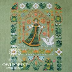 Cross Stitch Kit, Embroidery Primitives, Russian Fairytale The Frog Princess Vasilisa the Wise Owl Forest Manufacture Embroidery Design Russian Cross Stitch, Cross Stitch Beginner, Cross Stitch Love, Cross Stitch Samplers, Modern Cross Stitch, Cross Stitch Kits, Cross Stitch Designs, Cross Stitching, Cross Stitch Patterns