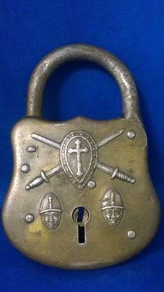 Vintage Crusader Padlock, Shield with Cross over Two Swords and Two Knight Heads