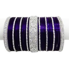 navy blue and silver lengha | Wedding Wear Navy Blue Metal Bangle Kada SET Indian Silver Tone CZ ...