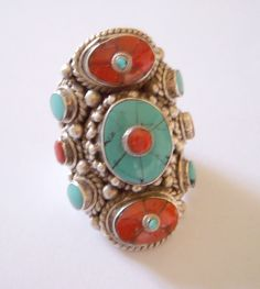 Good luck Gao ring with Tibetan turquoise and coral. 925% Silver hand made