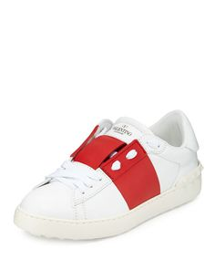 N43FB Valentino Wide-Striped Leather Sneaker, Ivory