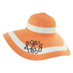 What a sassy Monogrammed Hat in Orange & White! We just love these personalized sun hats - they are so stylish, so fun and make great gifts. Every woman needs one of these to prance around it and protect their face from the sun. Monogram Hats, Monogram Styles, Orange Hats, Floppy Sun Hats, Sun Hats For Women, Best Gifts, Personal Style, My Style, Monograms