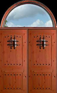SOL0235    LISBON IRON GRILL    DOUBLE DR & HALF CIRCLE TRANSOM  ASSEMBLED W/FRAME   UNFINISHED $ 3, 479.00   Door Masters of Texas  